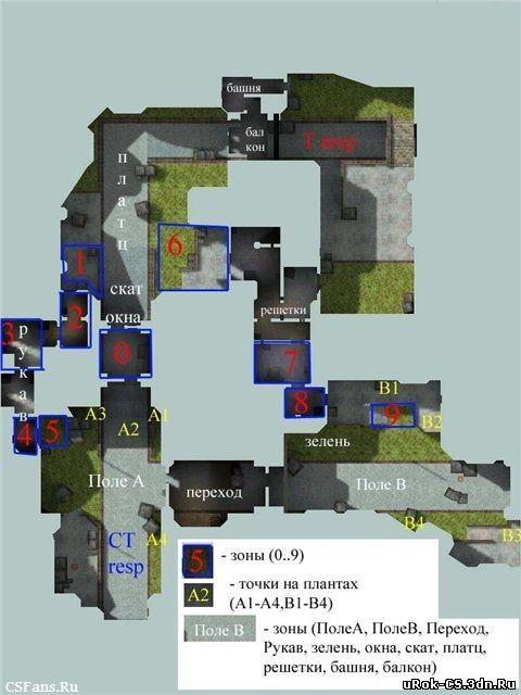 Обозначение мест на карте de_cbble