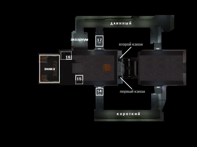 Обозначение мест на карте de_nuke(низ)